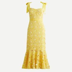 J Crew Yellow Midi Eyelet Dress Flounce Hem